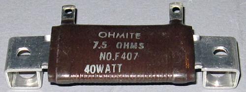 F407 - 7.5 Ohm 40W Resistor (Ohmite)