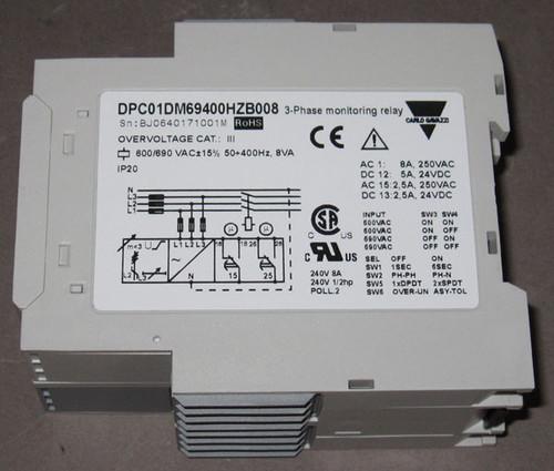 DPC01DM69400HZ-B008 - 3-Phase Monitoring Relay, 600/690V 50-400Hz (Carlo Gavazzi)