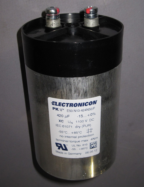 E50.N13-424N50/P - 1100VDC 410uF Capacitor (Electronicon) - New/RFE