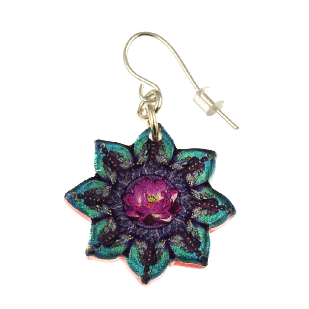 14120-71 -  Upcycled Flower Shaped Kaleidoscope Pattern Earrings