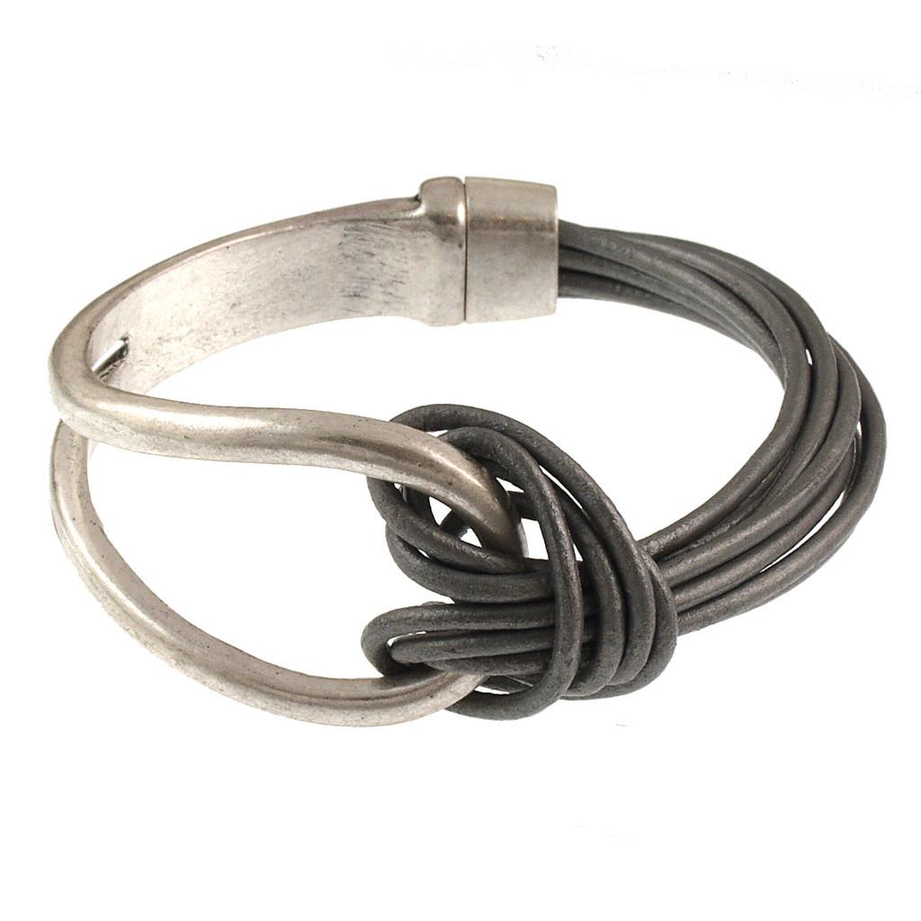 6065-1 - Matte Silver/Grey Leather Magnetic Bracelet