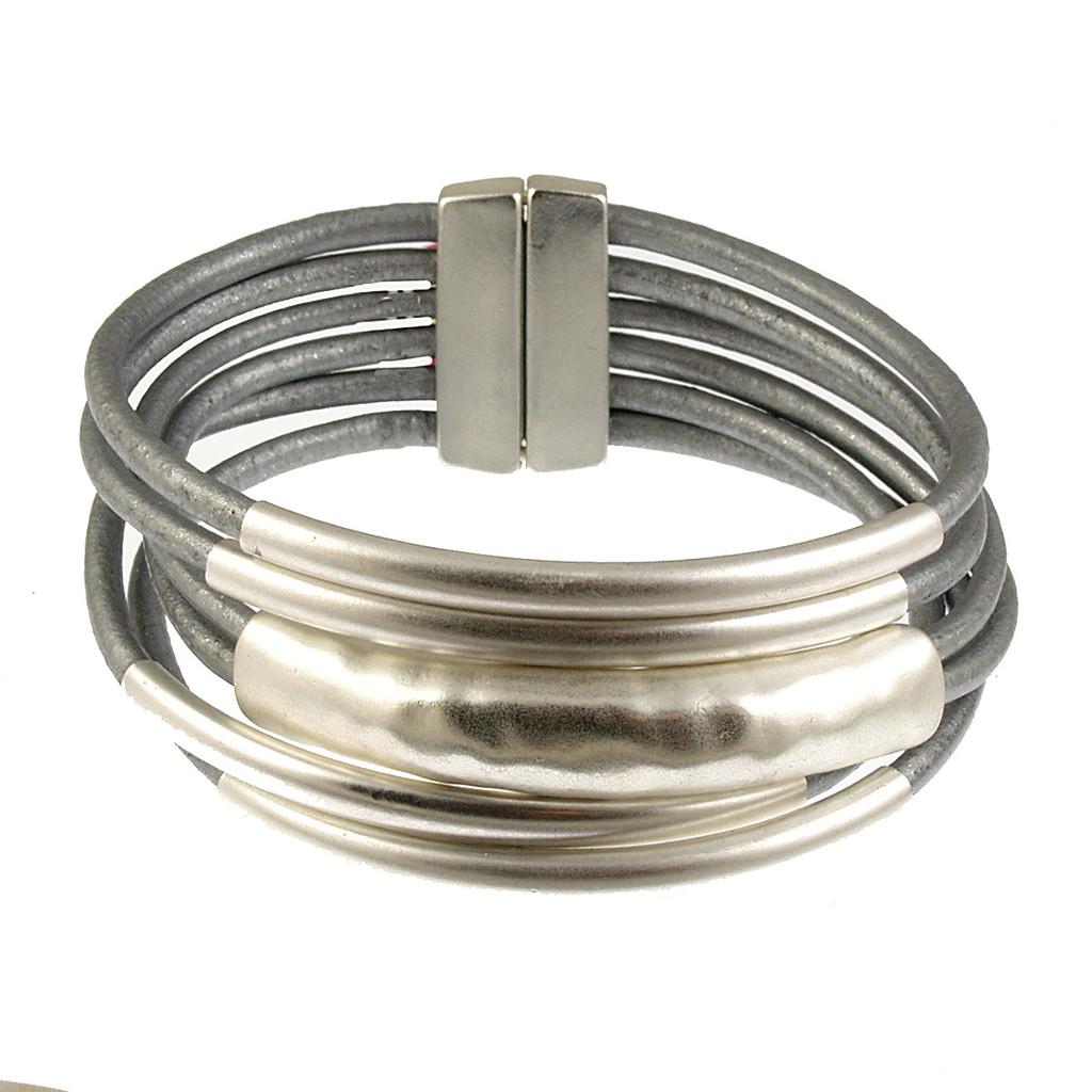 6105-1 - Matte Silver/Grey Tube Magnetic Bracelet
