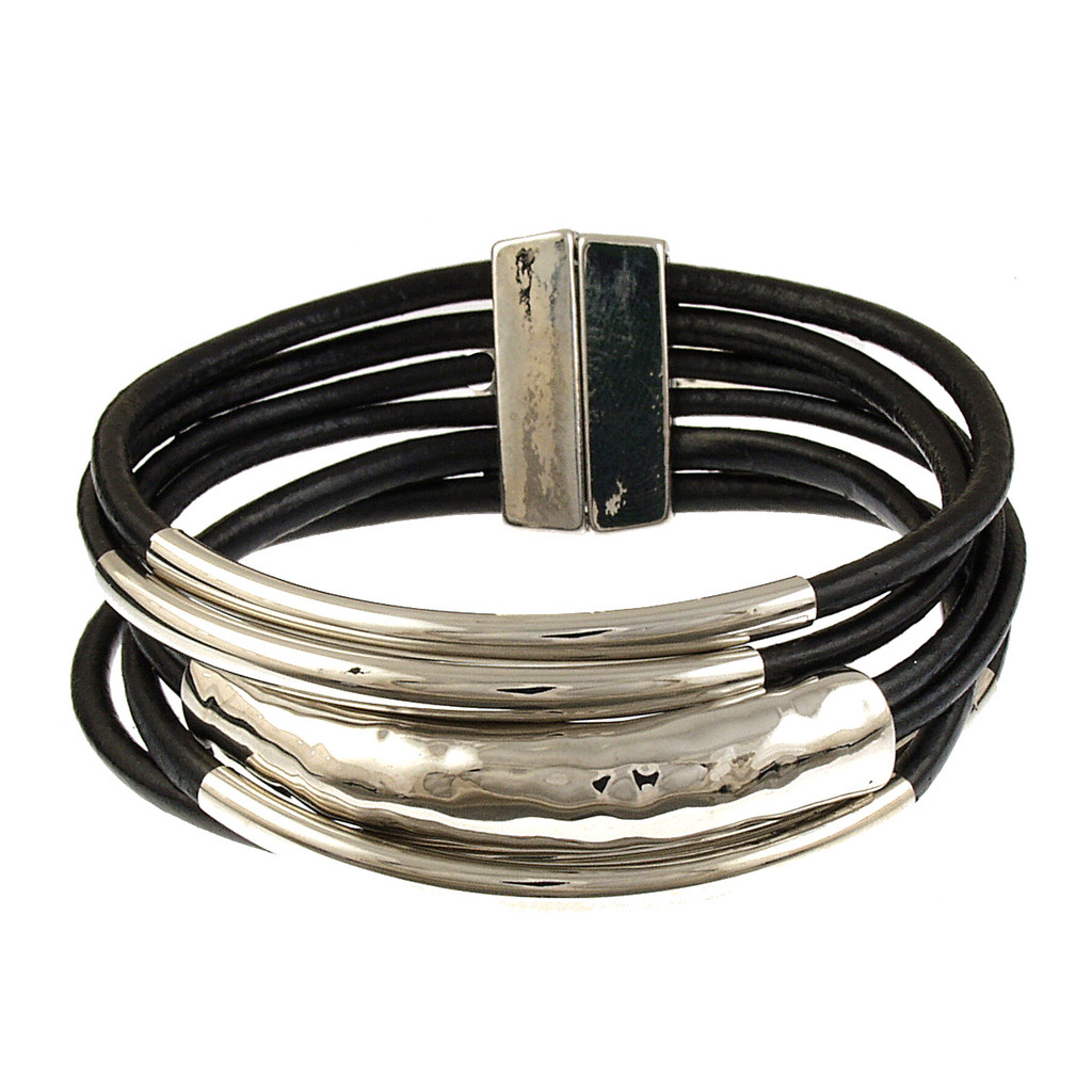 6105-4 - Rhodium/Black Tube Magnetic Bracelet