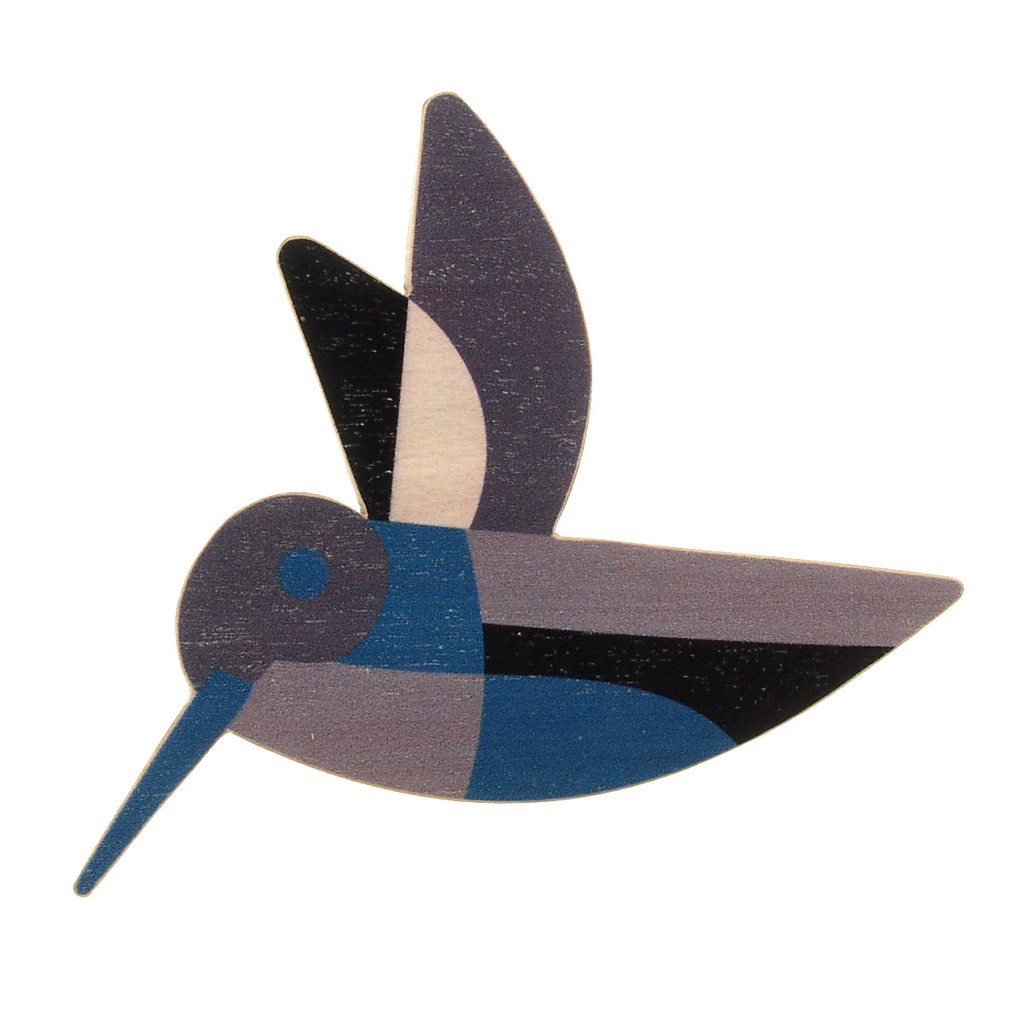 4021-1 - Blue Hummingbird Wood Brooch