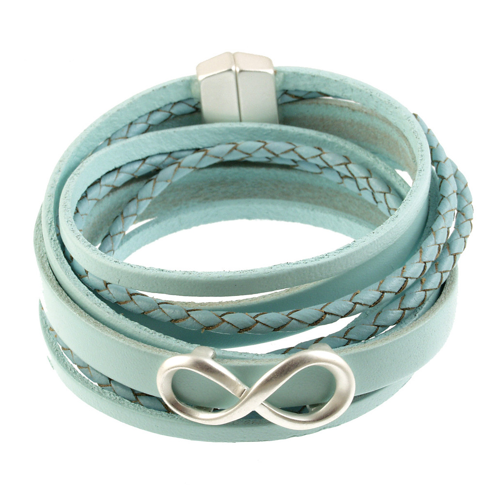 6784-70 - Infinity Braid Bracelet Silver/Light Blue