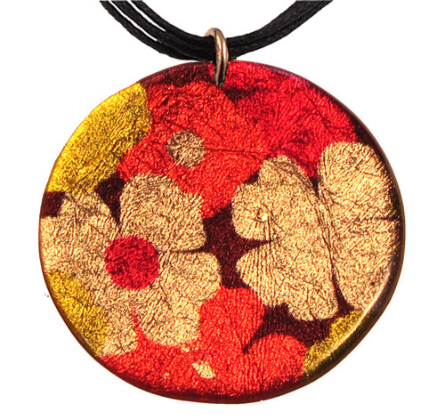 4130-68 - Red and Yellow Floral Pendant On Cord
