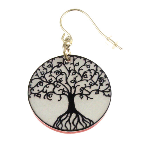 14120-34 - Upcycled Black Tree of Life Earring