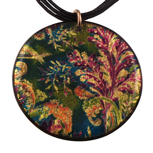 4130-4 -  Small Green/Purple Floral Pendant On Cord