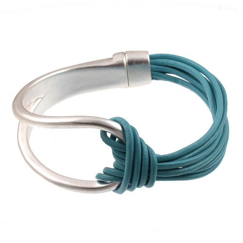 6065-5 - Matte Silver/Turquoise Leather Magnetic Bracelet