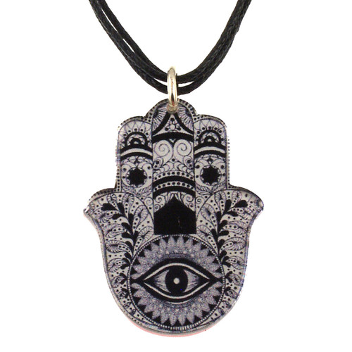 4027-2 - Upcycled Black and White Hamsa Pendant