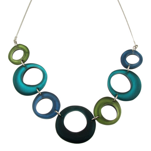 1723-31 - Hollow Circles Necklace Green Combi