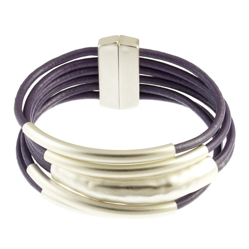 6105-102 - Matte Silver/Lavender Magnetic Bracelet