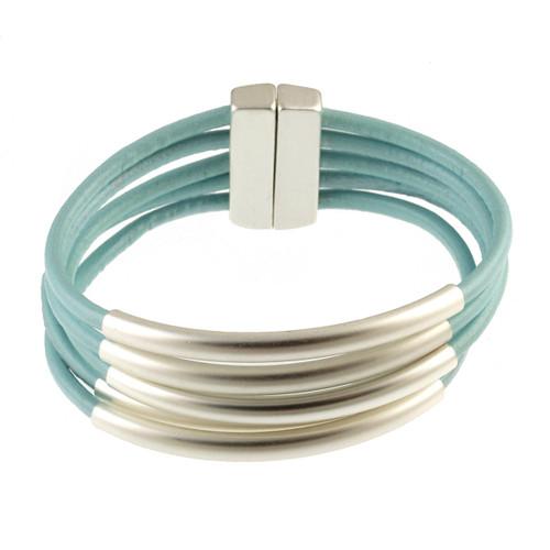 6104-106 - Matte Silver/Light Blue Tube Magnetic Bracelet