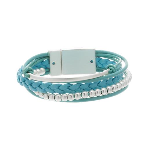 6143-5 - Matte Silver/Turquoise Magnetic Bracelet