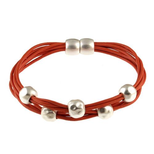 6140-7 - Matte Silver/Orange Magnetic Bracelet