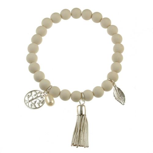 102-8 - Stretch Resin Egg Shell Bracelet