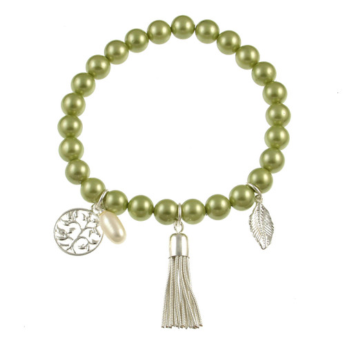 476-3 - Stretch Pearl and Shell Lime Bracelet