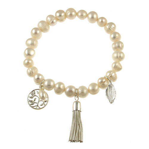 476-8 -Stretch Pearl and Shell Eggshell Bracelet