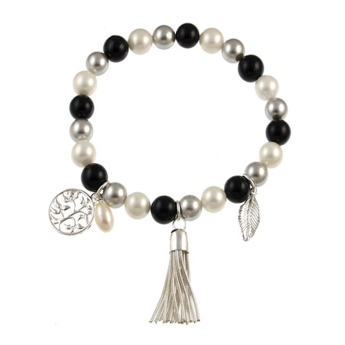 476-9 -Stretch Pearl and Shell Black Combi Bracelet