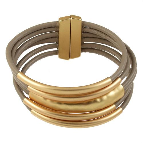 6105-87 - Matte Gold/Taupe Magnetic Bracelet