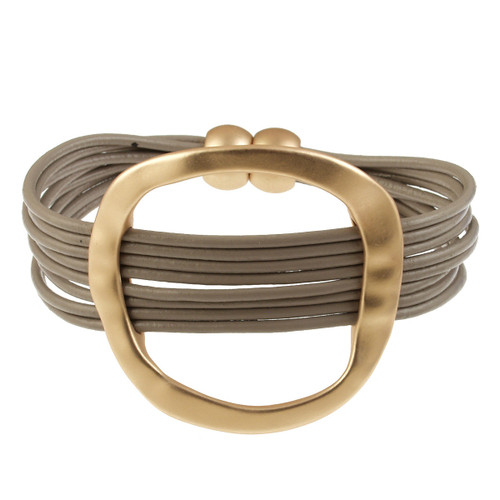6170-87 - Matte Gold/Taupe Hammered Oval Magnetic Leather Bracelet