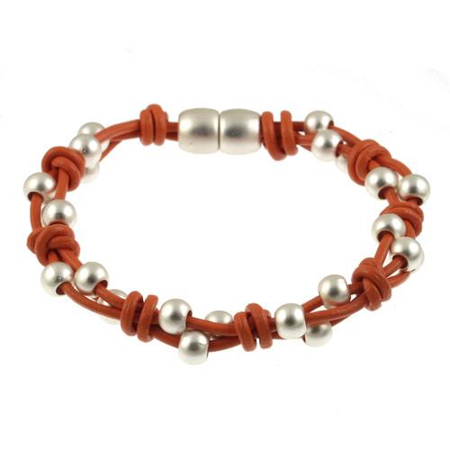 6162-7 - Matte Silver/Orange Simple Braid Magnetic Leather Bracelet