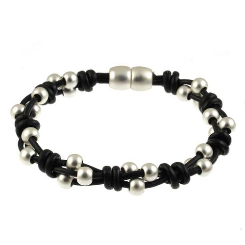 6162-4 - Matte Silver/Black Simple Braid Magnetic Leather Bracelet