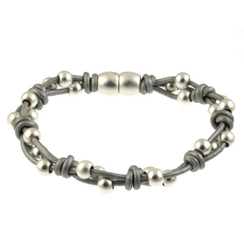 6162-1 - Matte Silver/Light Grey Simple Braid Magnetic Leather Bracelet