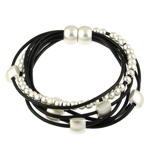6156-4 - Matte Silver/Black Mini Squares Magnetic Leather Bracelet