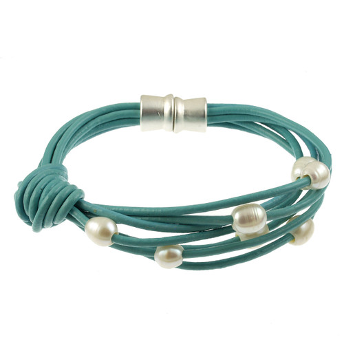 6160-5 - Matte Silver/Turquoise White Pearl Knot Magnetic Leather Bracelet