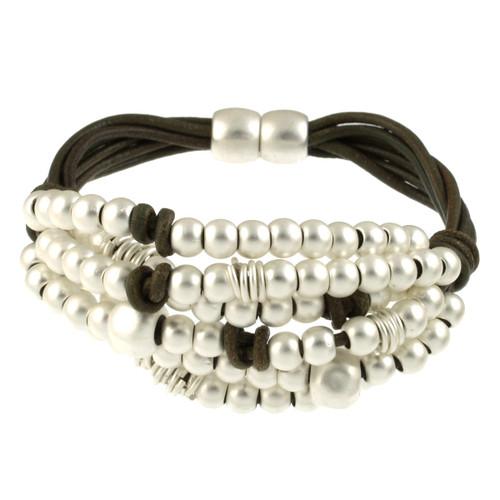 6166-42 - Matte Silver/Khaki Cluster Beaded Magnetic Leather Bracelet