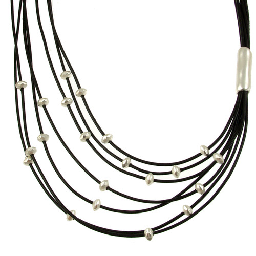 5110-4 - Matte Silver/Black Side Gather Magnetic Leather Necklace