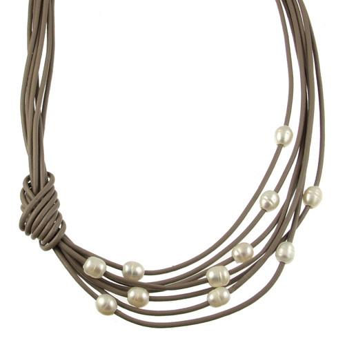 5170-87 - Matte Gold/Taupe/White Pearls With Side Knot Magnetic Necklace