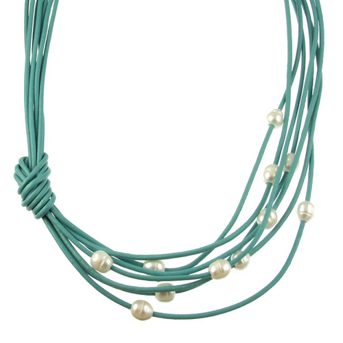5170-5 - Matte Silver/Turquoise/White Pearls With Side Knot Magnetic Necklace