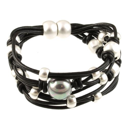 6641-4 - Matte Silver/Black With Grey Pearl Magnetic Bracelet