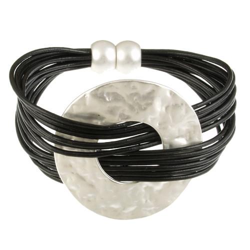6710-4 - Matte Silver/Black Hammered Metal Wide Ring Magnetic Bracelet