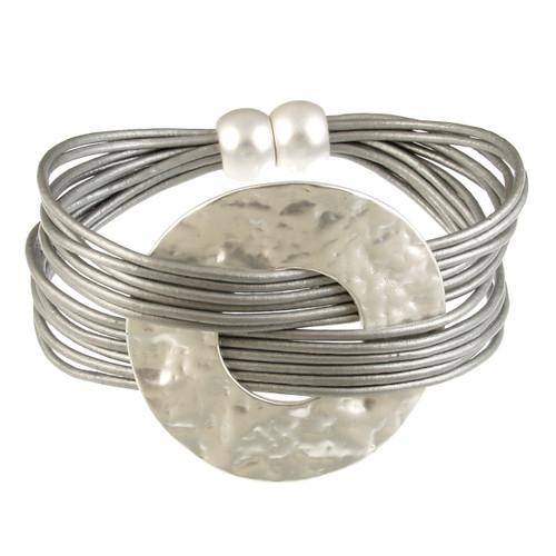 6710-1 - Matte Silver/Grey Hammered Metal Wide Ring Magnetic Bracelet
