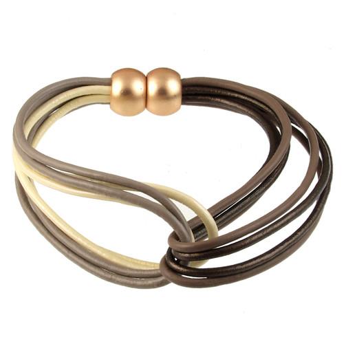 6788-87 - Matte Gold/Taupe Multi Tone Twist Magnetic Bracelet