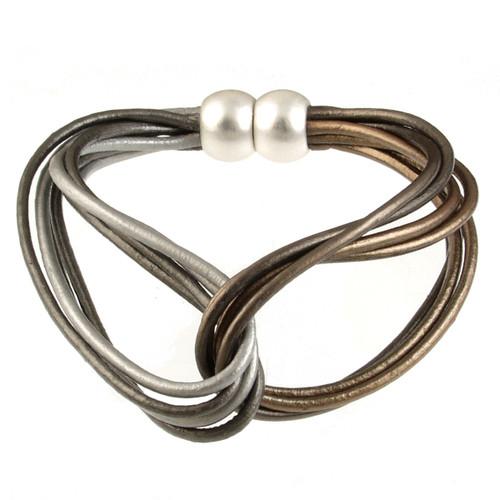 6788-58 - Matte Silver/Metallic Bronze Multi Tone Twist Magnetic Bracelet