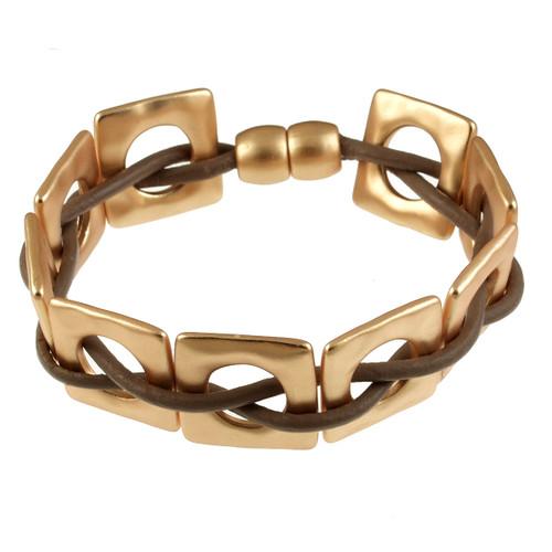 6658-87 - Matte Gold/Taupe Square Weave Magnetic Bracelet