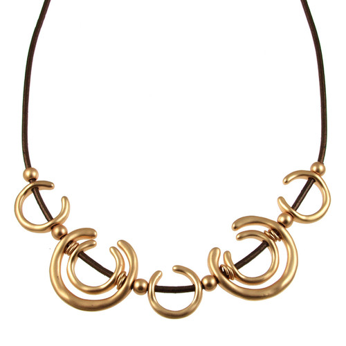 5125-59 - Matte Gold/Metallic Copper Horseshoe Magnetic Necklace