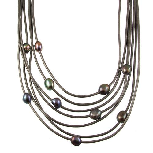 5188-1 - Matte Silver/Dark Grey/Grey Pearl Magnetic Necklace