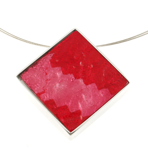 2126-1 - Dichroic Resin Diamond Pendant Red