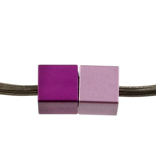 5117-4 - Magnetic Cube Pendant Matte Silver/Purple/Pink