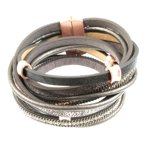 6165-63 - Matte Rose Gold/Grey Wrap Magnetic Bracelet