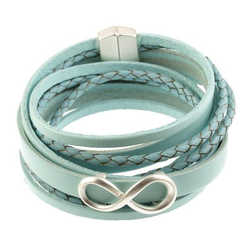 6784-70 - Infinity Braid Bracelet Silver/Light Blue