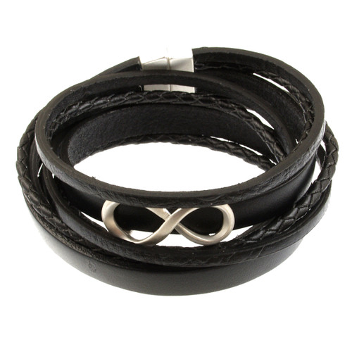 6784-4 - Infinity Braid Bracelet Silver/Black