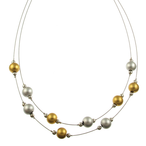 5443-1 - RHODIUM/MATTE SILVER/GOLD NECKLACE