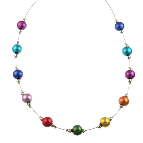 5143-4 - RHODIUM/MULTI COLOR NECKLACE