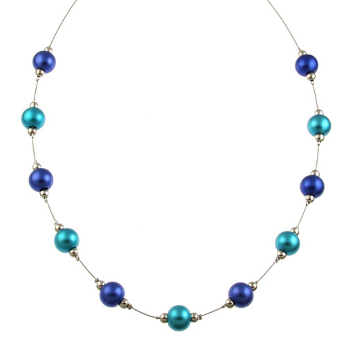 5143-2 - RHODIUM/TURQUOISE/DARK BLUE  NECKLACE